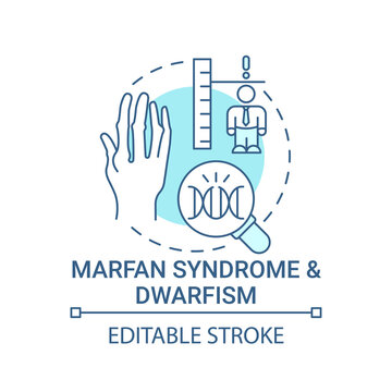 Marfan syndrome and dwarfism blue concept icon. Chromosome mutation. Health care. Genetic disorder idea thin line illustration. Vector isolated outline RGB color drawing. Editable stroke