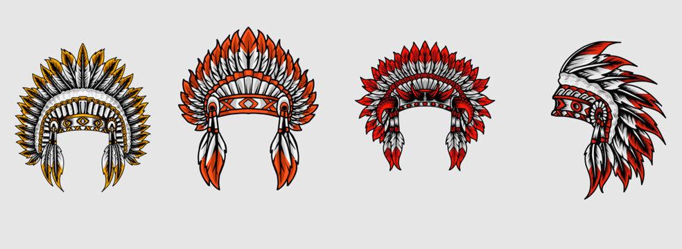 illustration vector set indian apache hat