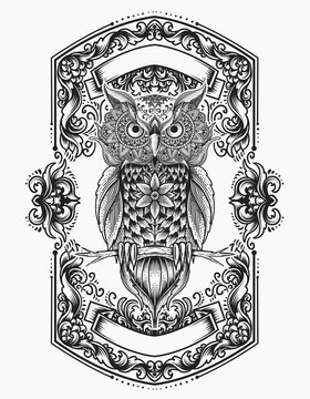 illustration vector monochrome owl bird mandala ornament