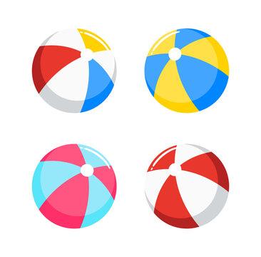 beach ball, inflatable ball set vector illustration isolated