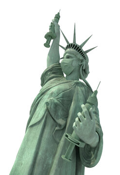 masked statue of liberty presenting covid vacine and sringe, isolated