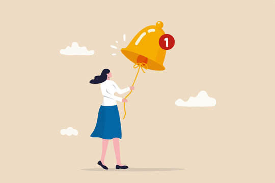 Ring subscription bell to get reminder for new social media content, young woman new subscriber ringing the big bell with notification number.