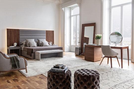 modern bedroom interior in minimal style, 3d render