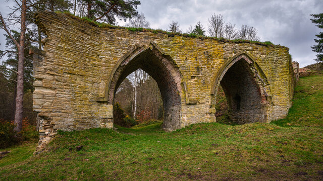 Dukesfield Arches beside Devils Water, are remains of a lead smelting mill which was built in the 18th century, situated in woodland on the banks of Devils Water near Hexham in Northumberland