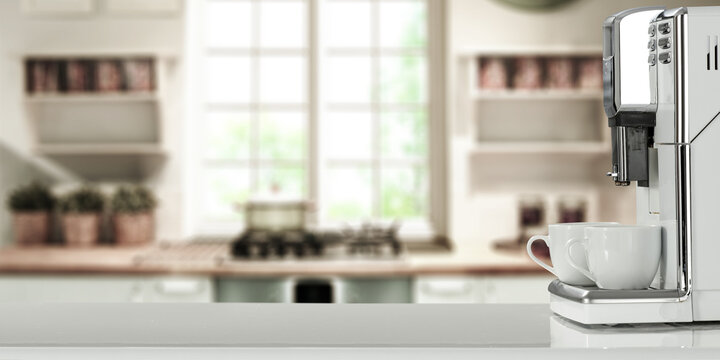 Coffee machine in kitchen and free space for your decoration.