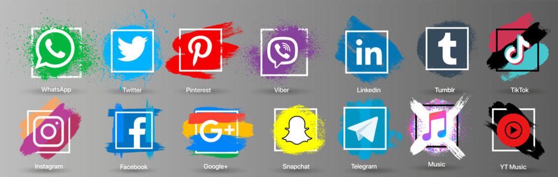 Set of social media icons. Instagram, Facebook, Twitter, WhatsApp in grunge style. vector
