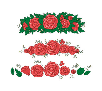 Roses, leaves wreath. Beautiful floral tiara elements. Vector set. Objects are isolated.