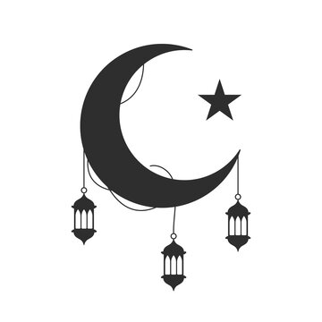 eid mubarak concept, crescent moon with decorative lanters hanging over white background