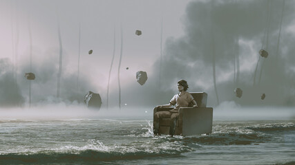 Self adhesive Wall Murals Grandfailure man sitting on armchair in the sea with rocks floating in the sky, digital art style, illustration painting