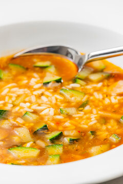 still ife of zucchini soup with rice