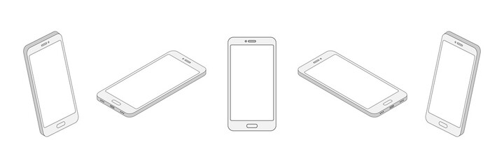 Fototapeta Isometric line smartphone set. 3d mobile phone with empty screen collection. Digital technology outline concept. Vector isolated on white obraz