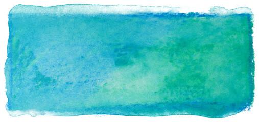 Obraz Watercolor stain rectangle background green blue - fototapety do salonu