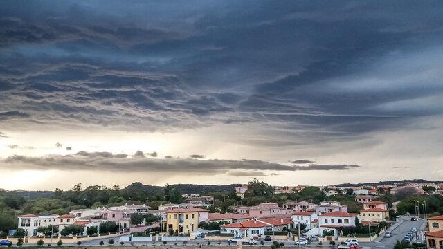 arzachena with dramatic clouds sardinia
