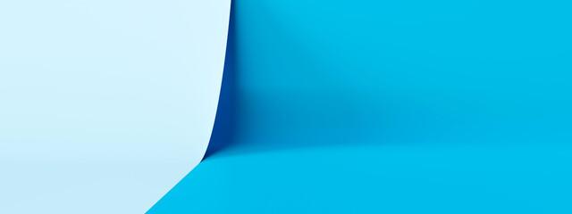 Fototapeta Light blue product stage background or podium pedestal display on blank modern art room with studio showcase backdrop. 3D rendering. obraz