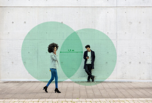 Two overlapping circles visualizing social distancing covering man and woman using smart phones outdoors