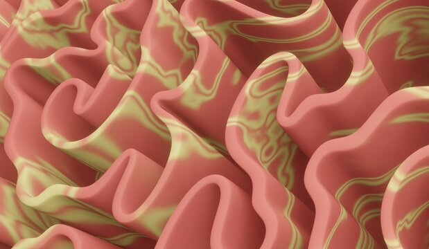 Background with the image of diagonal abstract geometric wavy folds in gradient red and yellow colors. 3d rendering.