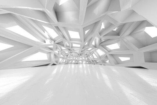 Three dimensional render of clean white futuristic interior