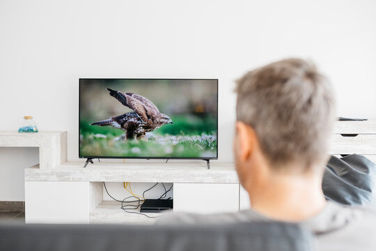 Mature man watching television in living room