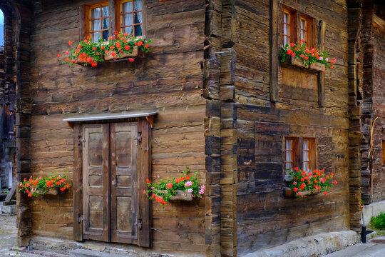 Switzerland, Valais, Ulrichen, Traditional wooden house