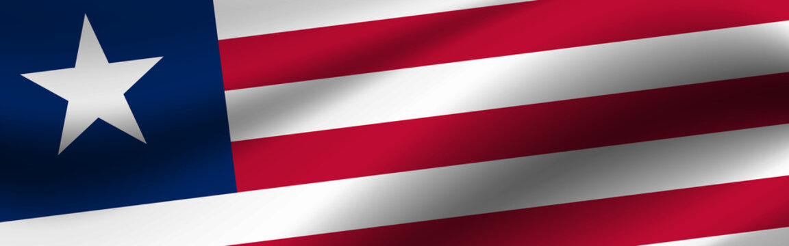 Banner with the flag of Liberia. Fabric texture of the flag of Liberia