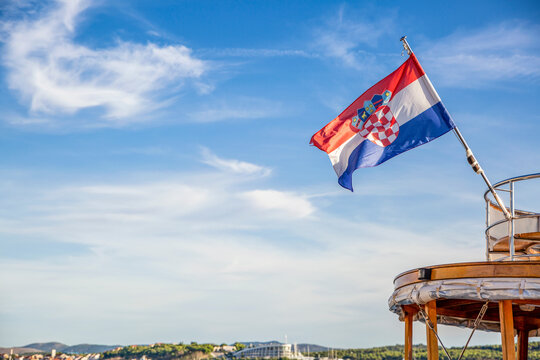 Croatian flag on boat