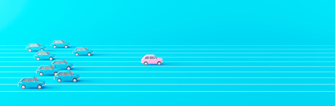 Business competition concept. Pink car leading the race against a group of slower blue cars 3d render 3d illustration