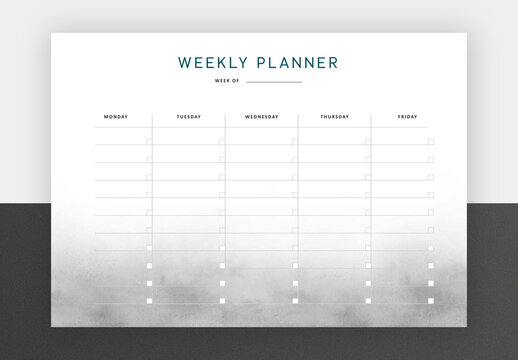 Minimal Weekly Planner with Smoke Background