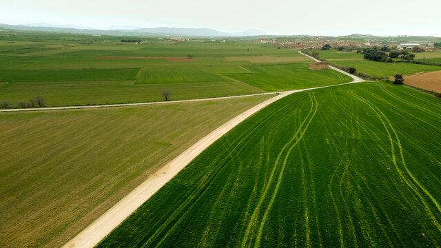 Agricultural landscape against sky