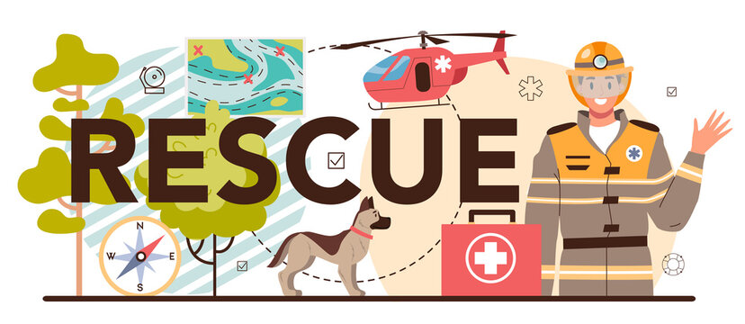 Rescue typographic header. Ambulance lifeguard in uniform assisting first aid