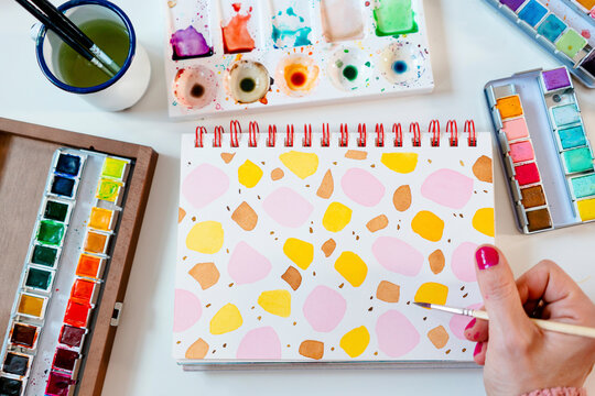 Painting colorful watercolor abstract terrazzo dots pattern