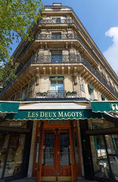 The famous cafe Les deux Magots located in Saint Germain des Pres area of Paris.It has been frequented by Ernest Hemingway, Pablo Picasso,Albert Camus, James Joyce...