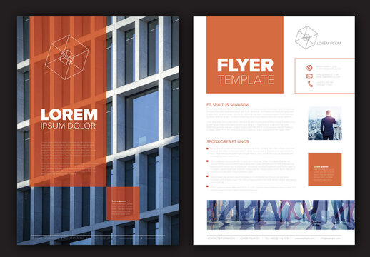 Modern Business Corporate Brochure Flyer Design Layout with Red Accent