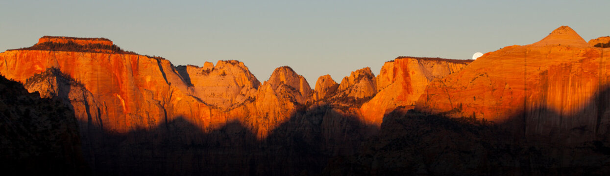 Moon set in autumn in Zion National Park, Utah, USA