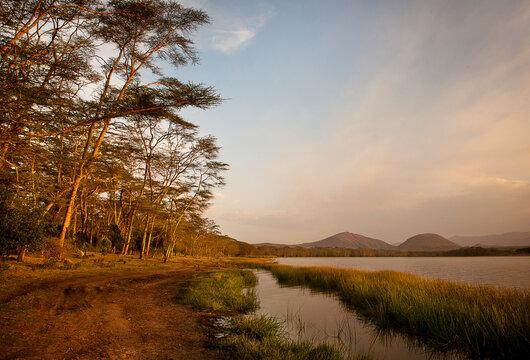 A lakeside image in Kenya, Africa.