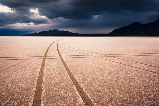 Between storms during sunset on the Bonneville Salt Flats in Utah.