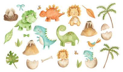 Baby Dinosaurs watercolor illustration with  cute animals for nursery and baby shower