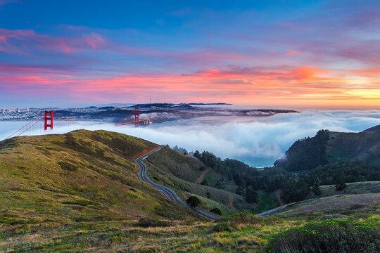 San Francisco, California from the Marin headlands.
