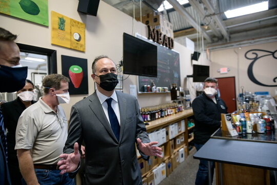 U.S Second Gentleman Doug Emhoff attends a listening session during a tour of the Bridgeworks Enterprise Center, a small business incubator, in Allentown