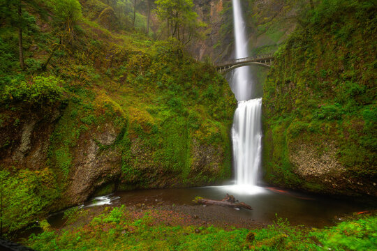 Multnomah Falls is the second tallest waterfall in the United States, found outside Portland, Oregon in the Columbia River Gorge area.