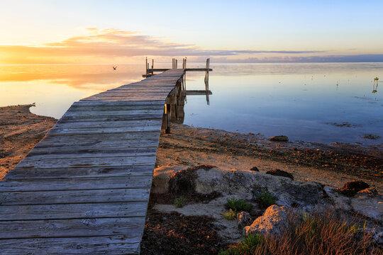 Sunrise over a fishing pier, Marathon, Florida Keys.