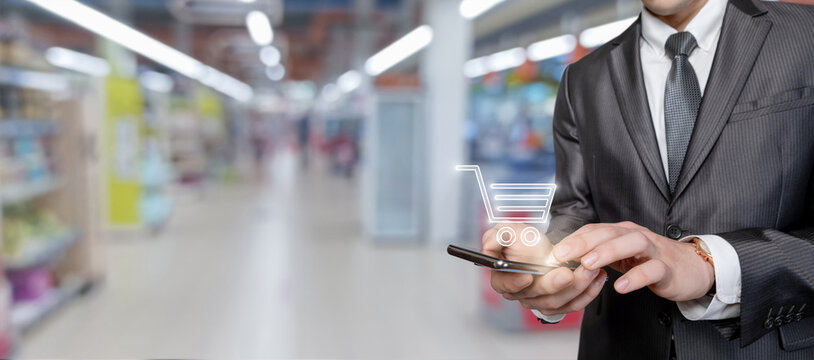 Concept of making purchases using mobile devices.