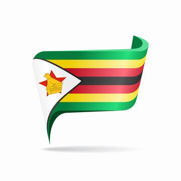 Zimbabwean flag map pointer layout. Vector illustration.
