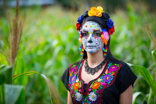 Woman's face with ceremonial make-up also known as Sugar skull, used in traditional Mexican Dia de los Muertos celebration