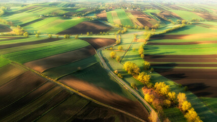 Beautiful aerial view of green hills