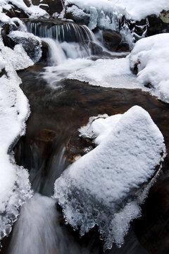Scenic image of snowy, frozen stream in the Wasatch mountains of Utah.