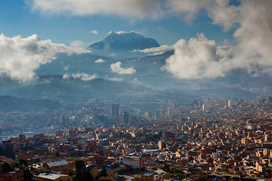 The sky-high capital city of La Paz, Bolivia lies in a deep canyon below the Andes Mountains.