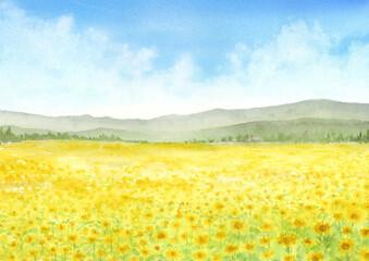 ひまわり畑の水彩画