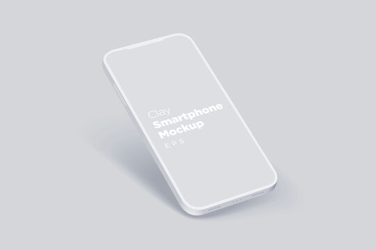 Modern clay mock up smartphone for presentation, information graphics, app display, perspective view eps vector format.