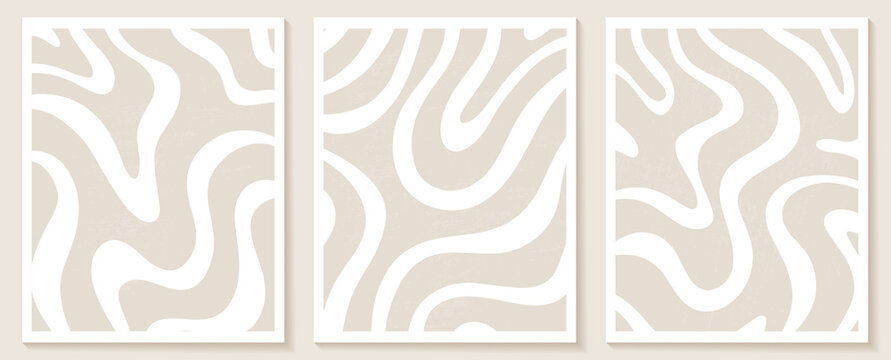 Contemporary templates with abstract shapes and line in nude colors.