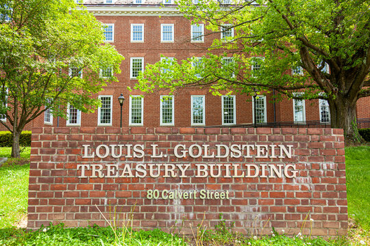 Annapolis, MD, USA 05-02-2021: Goldstein building of treasury in Annapolis, named after  politician Louis L. Goldstein who served in  state government offices including being comptroller of Maryland